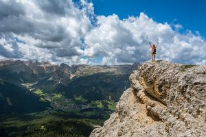 Woman on mountain top